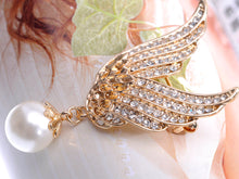 Load image into Gallery viewer, Gold Flying Angel Wings With Dangling Pearl Pin Brooch