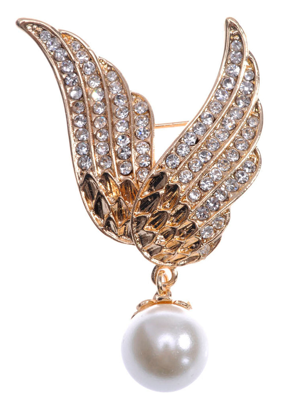 Gold Flying Angel Wings With Dangling Pearl Pin Brooch