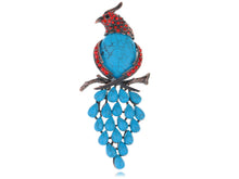 Load image into Gallery viewer, Vintage Parrot Bird Turquoise Pin Brooch
