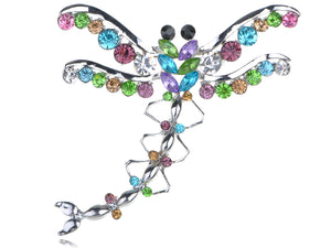 Austrian Colorful Dragonfly Pin Brooch