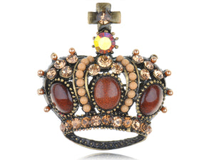 Topaz Antique King Crown Pageant Pin Brooch