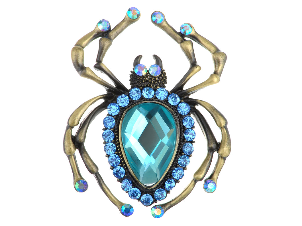 Antique Big Teardrop Sapphire Blue Spider Insect Brooch Pin