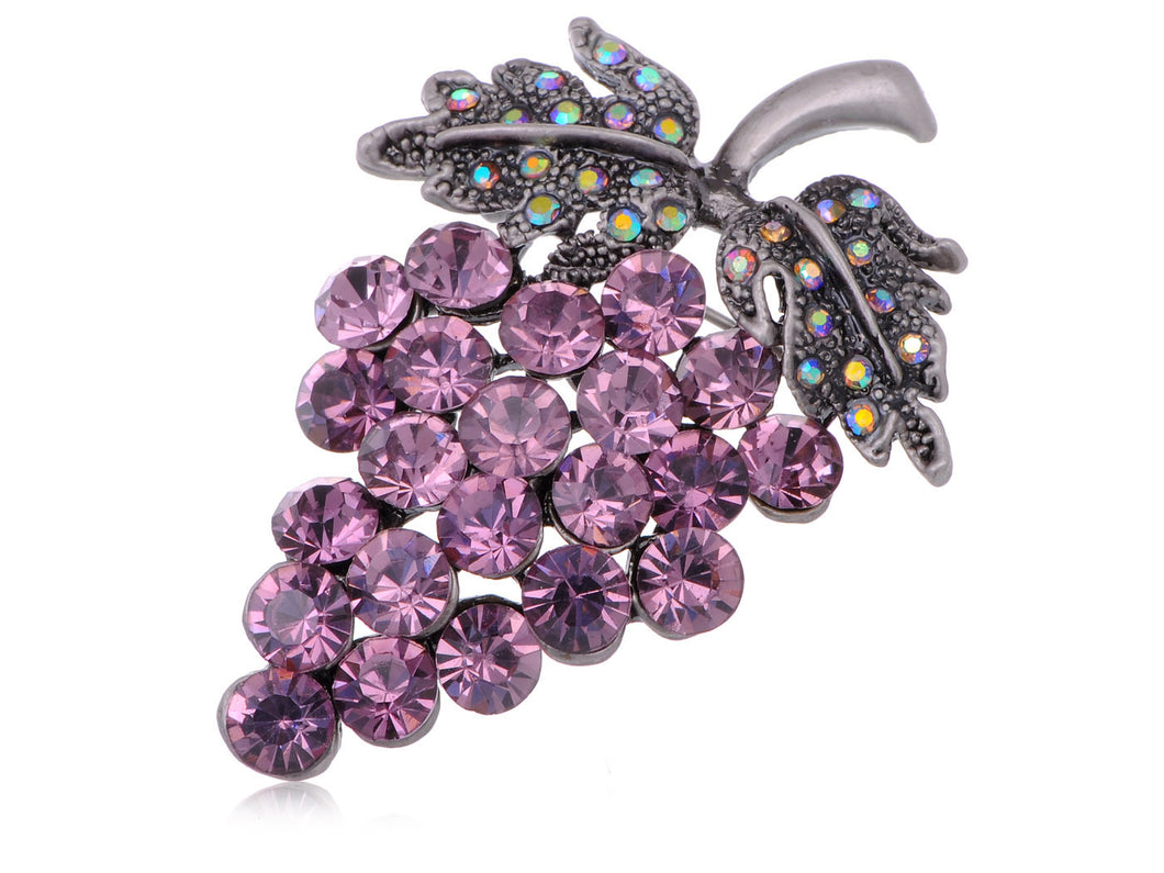 Antique Amethyst Purple Colored Grapes Fruit Brooch Pin