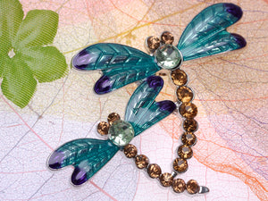 Light Brown Blue Green Two Dragonfly Brooch Pin