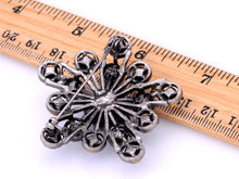 Load image into Gallery viewer, Sapphire 2 Layer Filigree Flower Starburst Pin Brooch