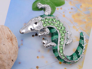 Green Crawling Alligator Crocodile Reptile Body Brooch Pin