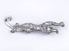 Load image into Gallery viewer, Black Enamel Paint Leaping Leopard Animal Jewelry Pin Brooch