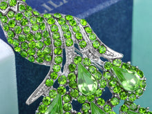Load image into Gallery viewer, Silver Shine Green Peacock Bird Brooch Pin