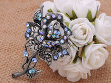 Load image into Gallery viewer, Old Antique Rose Flower Jewel Pin Brooch