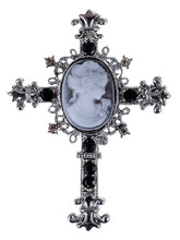 Load image into Gallery viewer, Wonens Gun Black Gothic Vintage Antique Cameo Cross Brooch Pin