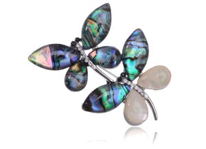 Enamel Ss Two Dragonfly Brooch Pin