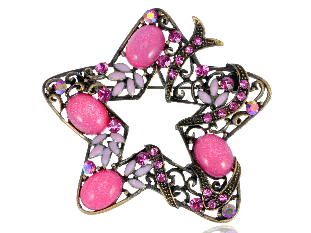 Holiday Rose Pink Star Flower Jewelry Pin Brooch
