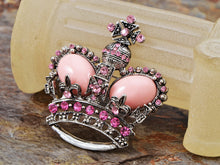 Load image into Gallery viewer, Antique Brass Shine Pink Princess Queen Crown Brooch Pin