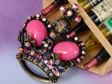 Load image into Gallery viewer, Vintage Fuchsia Pink Bead Brass Crown Pin Brooch