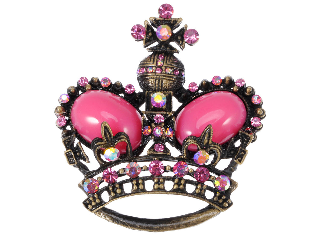 Vintage Fuchsia Pink Bead Brass Crown Pin Brooch