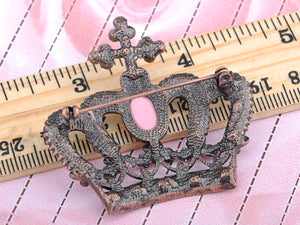 Antique Brass Shine Pink Princess Queen Crown Brooch Pin