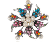 Load image into Gallery viewer, Holiday Flower Wreath Pearl Jewelry Pin Brooch