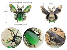 Load image into Gallery viewer, Peridot Green Ladybug Fly Insect Jewelry Brooch Pin