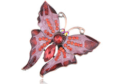 Load image into Gallery viewer, Dazzling Romantic Ruby Red Butterfly Enamel Paint Brooch Pin