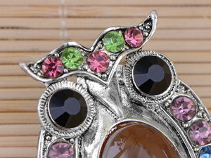 Staring Owl Bird Peridot Czech Pin Brooch
