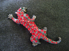 Load image into Gallery viewer, Ruby Red Austrian Rhine Leopard Animal Jewelry Pin Brooch