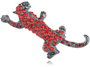 Ruby Red Austrian Rhine Leopard Animal Jewelry Pin Brooch