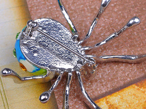 Stunning Blue Green Mosaic Spider Jewelry Pin Brooch