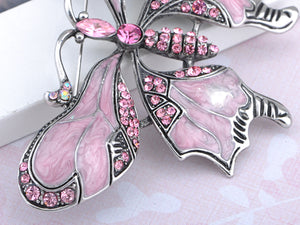 Vintage Repro Rose Pink Butterfly Jewelry Pin Brooch