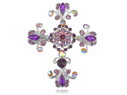 Victorian Flourish Flower God Cross Pin Brooch Purple