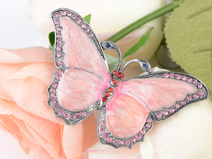 Antique Pink Pearlescent Bug Eyed Butterfly Brooch Pin