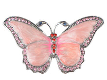 Load image into Gallery viewer, Antique Pink Pearlescent Bug Eyed Butterfly Brooch Pin