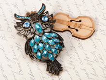 Load image into Gallery viewer, Sapphire Feather Owl Bird Pin Brooch
