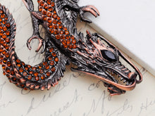 Load image into Gallery viewer, Gun Topaz Colored Antique Dragon Brooch Pin