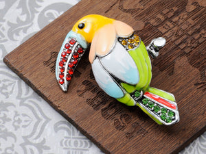 Multicolor Hand Painted Enamel Rainforest Toucan Parrot Bird Animal Brooch Pin