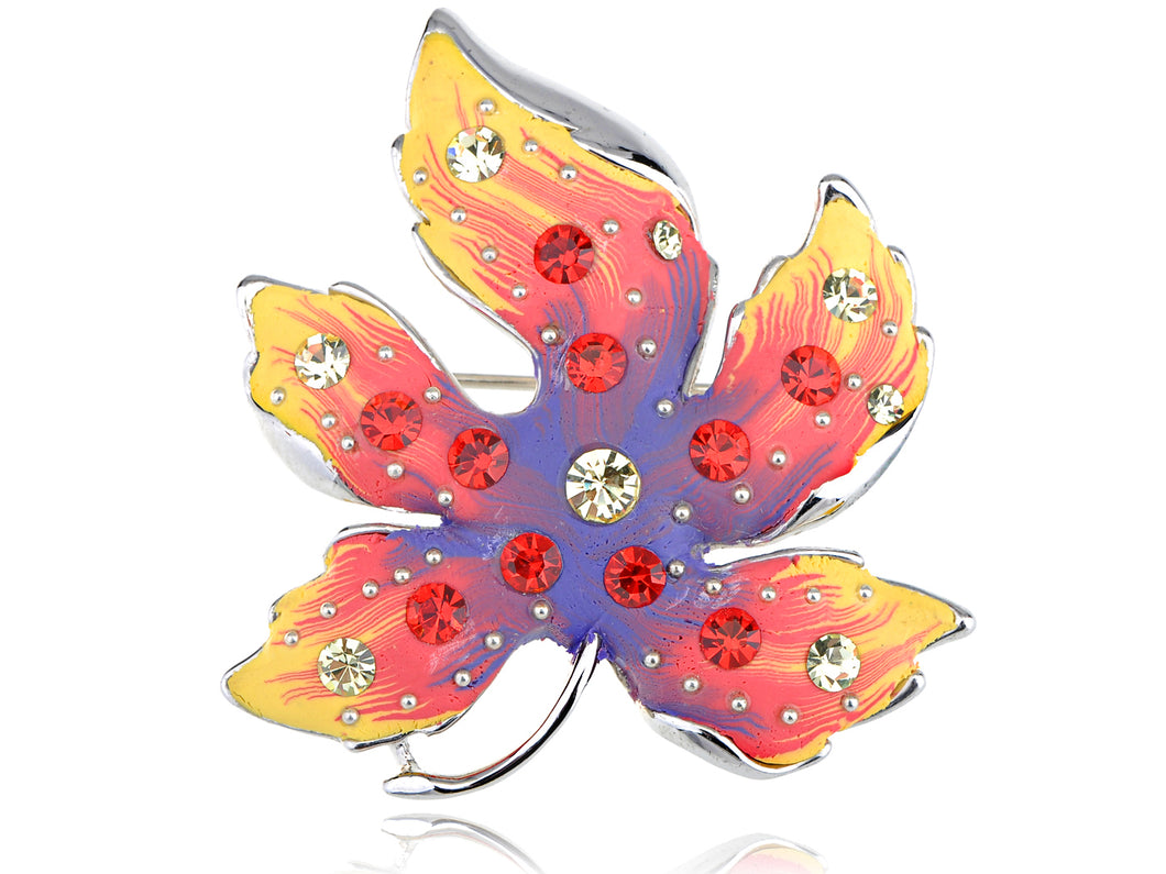 Colorful Autumn Wind Blowing Maple Leaf Pin Brooch