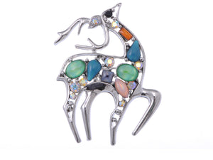 Studded Cat Eye Deer Animal Jewelry Pin Brooch