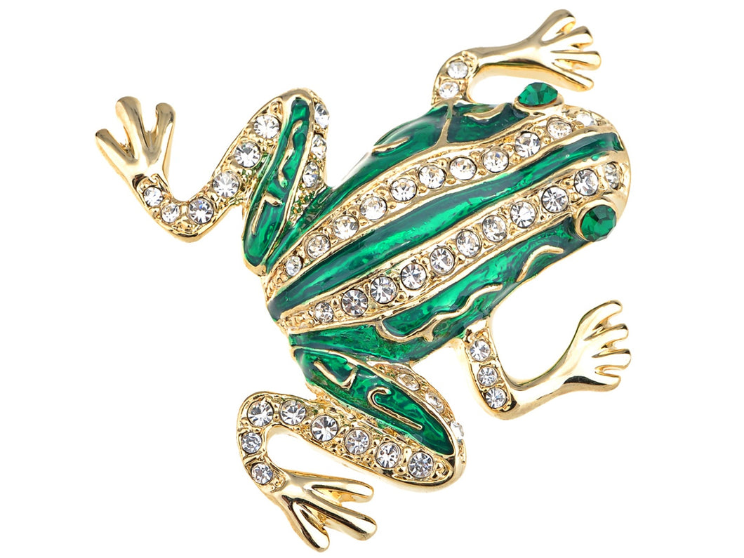 Czech Emerald Frog Jewelry Pin Brooch