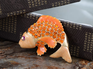Asian Koi Gold Fish Carp Enamel Rose Pink Animal Pin Brooch