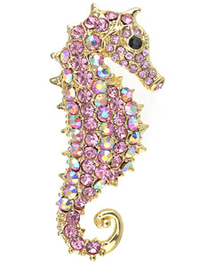 Aurora Borealis Seahorse Fish Convertible To Pendant Animal Brooch Pin