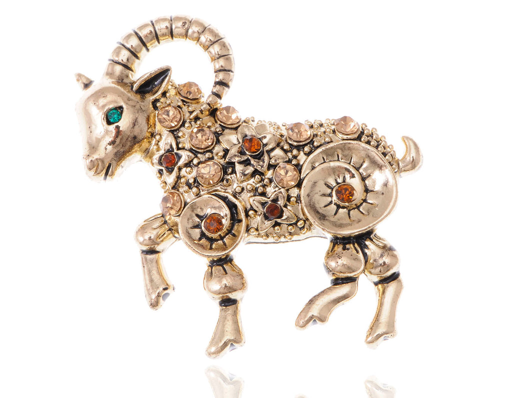 Multicoloured Accented D Buck Pin Brooch