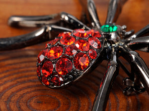 Gun Red Gothic Halloween Creepy Spider Brooch Pin