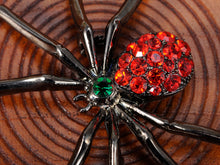 Load image into Gallery viewer, Gun Red Gothic Halloween Creepy Spider Brooch Pin
