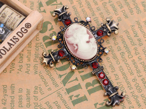 Gun Red Vintage Victorian Cameo Lady Cross Brooch Pin