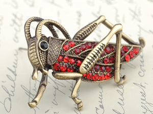 Antique Red Grasshopper Cricket Insect Brooch Pin