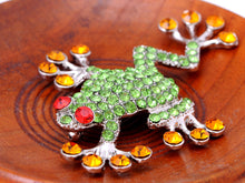 Load image into Gallery viewer, Peridot Ruby Eyed Frog Jewelry Brooch Pin