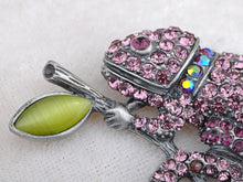 Load image into Gallery viewer, Light Amethyst Rose Pink Or Peridot Green Chameleon Lizard Convertible To Pendant Brooch Pin