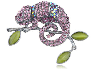 Light Amethyst Rose Pink Or Peridot Green Chameleon Lizard Convertible To Pendant Brooch Pin