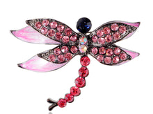Load image into Gallery viewer, Gun Fuchsia Colored Dragonfly Brooch Pin