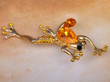 Load image into Gallery viewer, Sparkling Topaz Beaded Leaping Frog Pin Brooch
