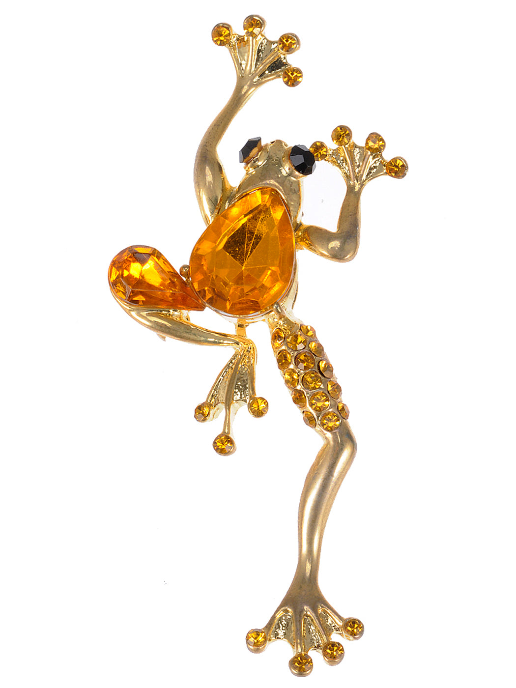 Sparkling Topaz Beaded Leaping Frog Pin Brooch